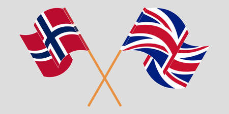 Crossed and waving flags of Norway and the UK. Standard-Bild - 155258894