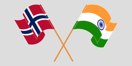 Crossed and waving flags of Norway and India. Illustration