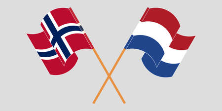 Crossed and waving flags of Norway and the Netherlands. Standard-Bild - 155258898