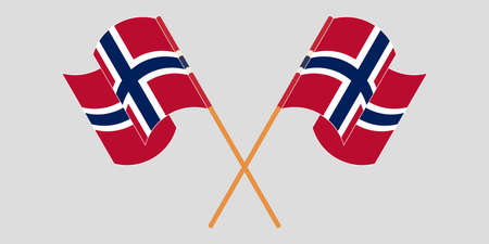 Crossed and waving flags of Norway. Standard-Bild - 155258897