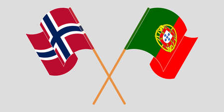 Crossed and waving flags of Norway and Portugal. Vector illustration 矢量图像