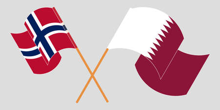 Crossed and waving flags of Norway and Qatar.