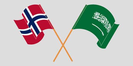 Crossed and waving flags of Norway and the Kingdom of Saudi Arabia. Standard-Bild - 155258900
