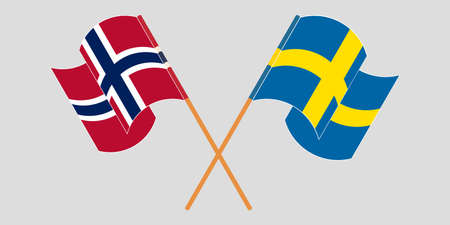 Crossed and waving flags of Norway and Sweden.