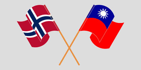 Crossed and waving flags of Norway and Taiwan. Standard-Bild - 155258902
