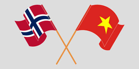 Crossed and waving flags of Norway and Vietnam. Vector illustration