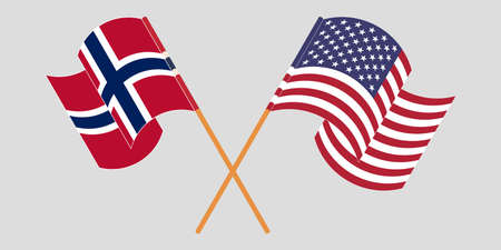 Crossed and waving flags of Norway and the USA. Illustration