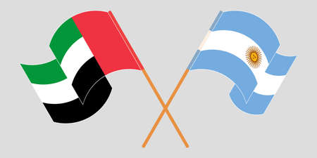 Crossed and waving flags of Argentina and the United Arab Emirates. Vector illustration Standard-Bild - 154927790