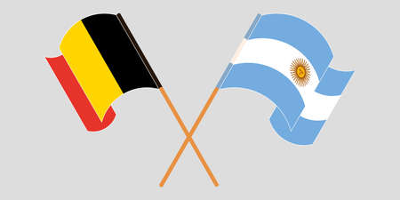 Crossed and waving flags of Argentina and Belgium. Vector illustration Illustration