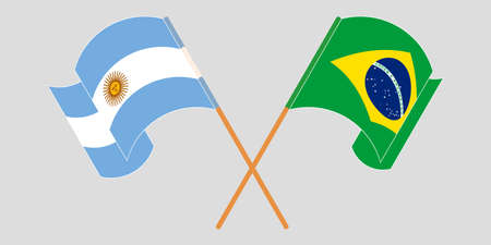 Crossed and waving flags of Argentina and Brazil. Vector illustration Illustration
