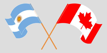 Crossed and waving flags of Argentina and Canada. Illustration