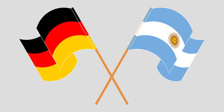 Crossed and waving flags of Argentina and Germany. Illustration