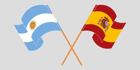Crossed and waving flags of Argentina and Spain. Vector illustration Standard-Bild - 154927736