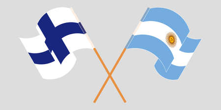 Crossed and waving flags of Argentina and Finland. Standard-Bild - 155258907