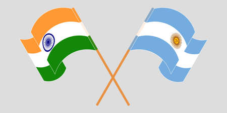 Crossed and waving flags of Argentina and India. Illustration