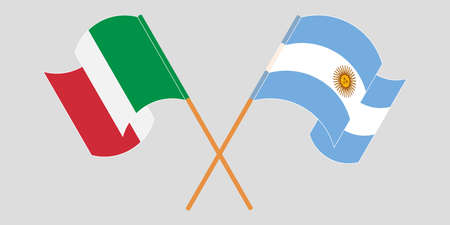 Crossed and waving flags of Argentina and Italy. Vector illustration