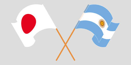 Crossed and waving flags of Argentina and Japan. Illustration