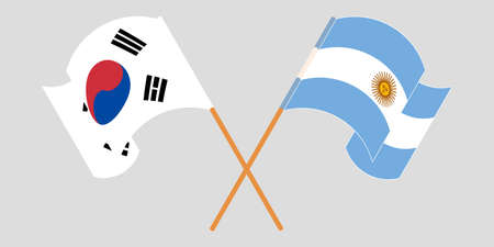 Crossed and waving flags of Argentina and South Korea. Vector illustration Standard-Bild - 154927777