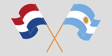 Crossed and waving flags of Argentina and the Netherlands. Vector illustration Illustration