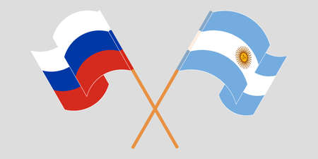Crossed and waving flags of Argentina and Russia. Standard-Bild - 155257696