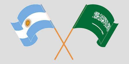 Crossed and waving flags of Argentina and the Kingdom of Saudi Arabia. Standard-Bild - 155257698
