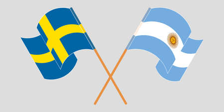 Crossed and waving flags of Argentina and Sweden. Vector illustration Illustration