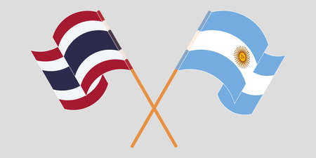 Crossed and waving flags of Argentina and Thailand. Vector illustration