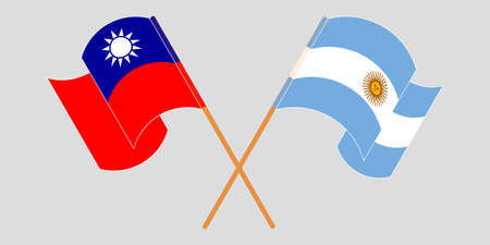 Crossed and waving flags of Argentina and Taiwan. Illustration