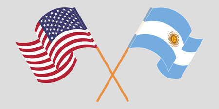 Crossed and waving flags of Argentina and the USA. Vector illustration