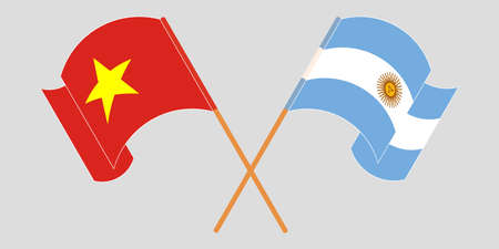 Crossed and waving flags of Argentina and Vietnam. Vector illustration