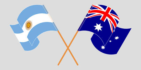 Crossed and waving flags of Australia and Argentina. Vector illustration