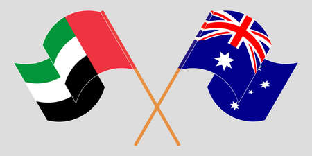Crossed and waving flags of Australia and the United Arab Emirates. Vector illustration