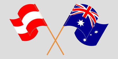 Crossed and waving flags of Australia and Austria. Vector illustration Standard-Bild - 154928024