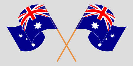 Crossed and waving flags of Australia.