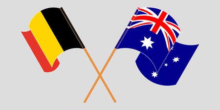 Crossed and waving flags of Australia and Belgium.