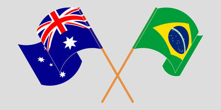 Crossed and waving flags of Australia and Brazil. Vector illustration Standard-Bild - 154927988