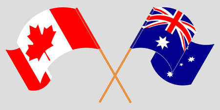 Crossed and waving flags of Australia and Canada. Standard-Bild - 155257702