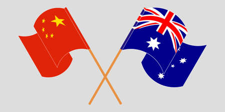 Crossed and waving flags of Australia and China. Standard-Bild - 155257701
