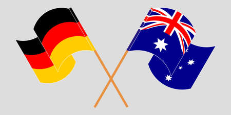 Crossed and waving flags of Australia and Germany. Illustration