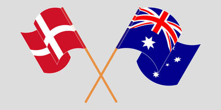 Crossed and waving flags of Australia and Denmark. Vector illustration Çizim