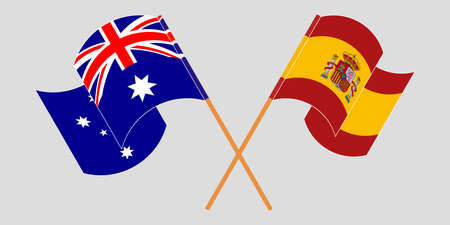 Crossed and waving flags of Australia and Spain. Vector illustration Standard-Bild - 154933898