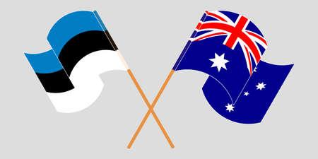 Crossed and waving flags of Australia and Estonia. Standard-Bild - 155257703