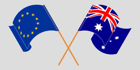 Crossed and waving flags of Australia and the EU. Illustration