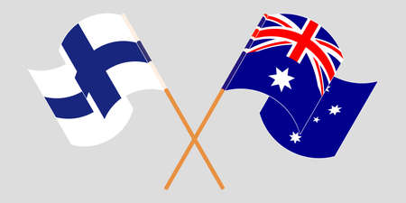 Crossed and waving flags of Australia and Finland. Vector illustration Standard-Bild - 154934061