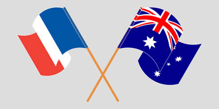 Crossed and waving flags of Australia and France. Standard-Bild - 155257706