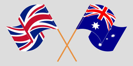 Crossed and waving flags of Australia and the UK. Vector illustration Standard-Bild - 154933218