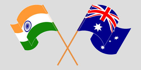 Crossed and waving flags of Australia and India. Standard-Bild - 155257707
