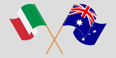 Crossed and waving flags of Australia and Italy. Vector illustration Illustration