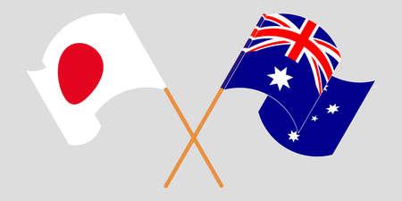 Crossed and waving flags of Australia and Japan. Vector illustration Standard-Bild - 154932827