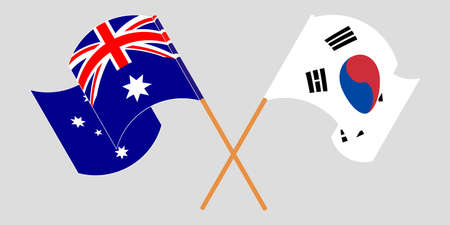 Crossed and waving flags of Australia and South Korea. Vector illustration